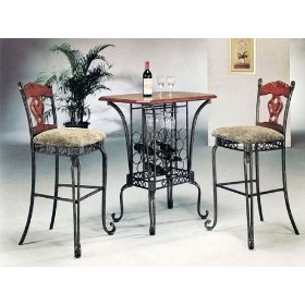 Wine Bar Table Set with 2 Chairs