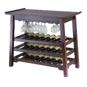 wine table with glass rack
